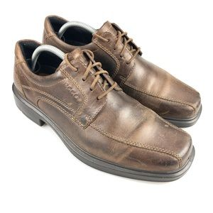Mens Ecco Brown Leather Oxford Dress Shoes Size 43